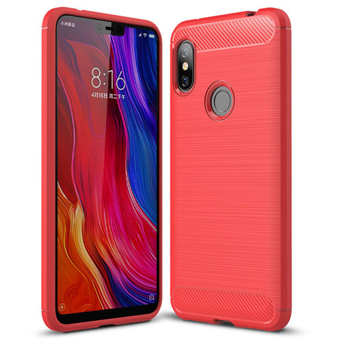 Bakeey Carbon Fiber Protective Case for Redmi Note 6 Pro Red