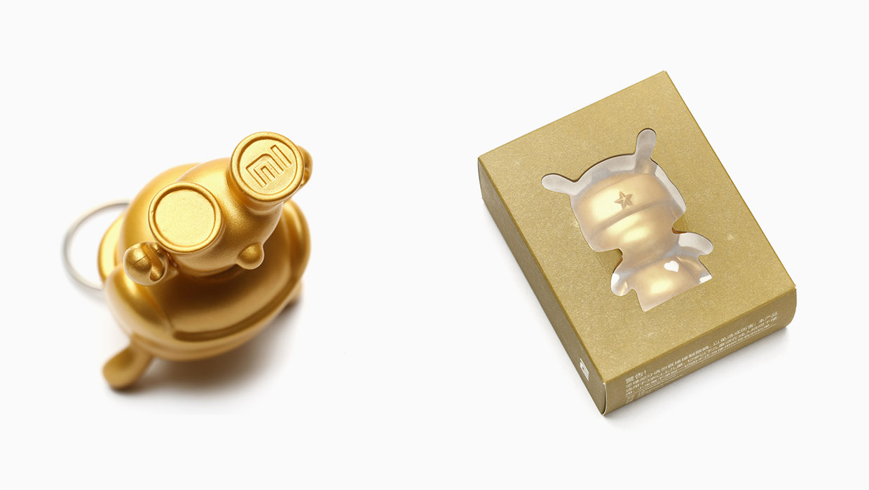 Xiaomi Mi Bunny MITU 5th Anniversary Keychain Gold 3.5cm packaging